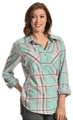 New Direction Sport Women's Pastel Plaid Two Pocket Western Shirt , , hi-res