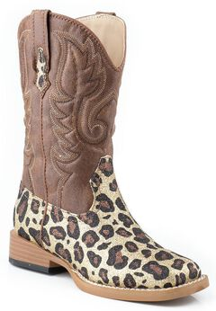 Roper Toddler Girls' Glittery Brown Leopard Print Cowgirl Boots, Gold, hi-res