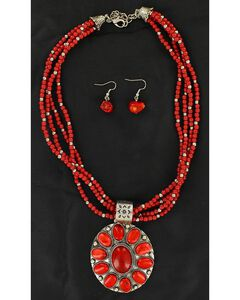 Blazin Roxx Multi Beaded Strand Faux Coral Concho Necklace & Earrings Set, , hi-res