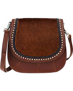 Montana West Delila Saddle Bag 100% Genuine Leather Hair-On Hide Collection in Brown, , hi-res
