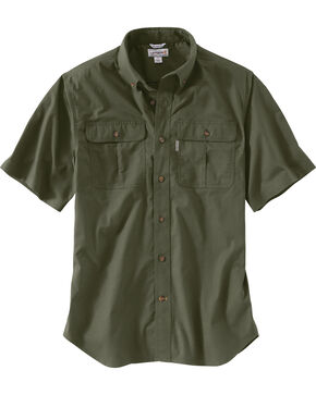 Carhartt Men's Foreman Short Sleeve Work Shirt, Moss, hi-res