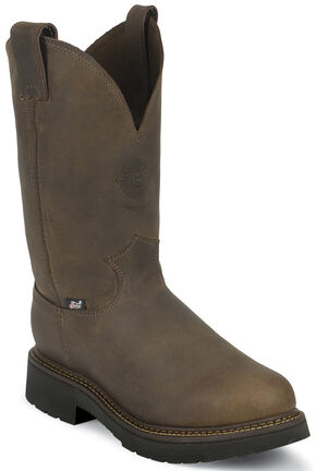 Justin J-Max Rugged Bay Gaucho Pull-On Work Boots - Steel Toe, Chocolate, hi-res
