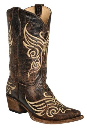 Circle G Distressed Bone Embroidered Cowgirl Boots - Snip Toe, Brown, hi-res