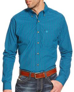 Ariat Men's Plaid Pro Series Waverly Performance Shirt, Teal, hi-res