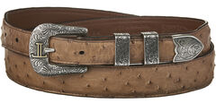 Lucchese Men's Brown Full Quill Ostrich Leather Belt, , hi-res