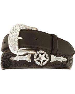 Justin Odessa Star Leather Belt, Black, hi-res