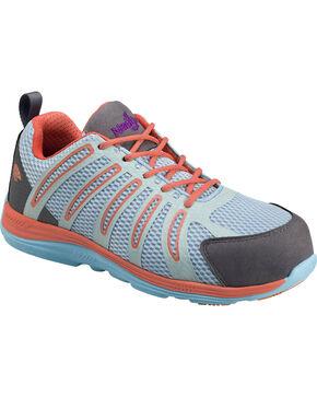 Nautilus Women's Teal, Orange & Grey Wedge Sole Work Shoes - Comp Toe , Blue, hi-res