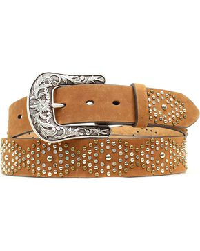 Ariat Rhinestone Nailhead Diamond Belt, Brown, hi-res