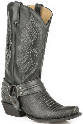 Roper Alligator Scaler Harness Cowboy Boots - Snip Toe, Black, hi-res