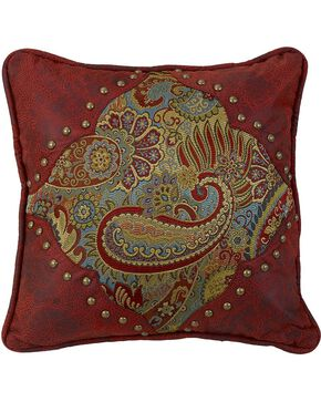 HiEnd Accents San Angelo Paisley & Leather Pillow, Multi, hi-res