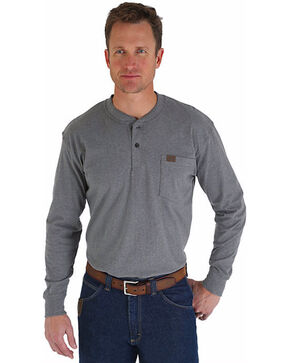Wrangler Riggs Work Wear Henley, Charcoal Grey, hi-res
