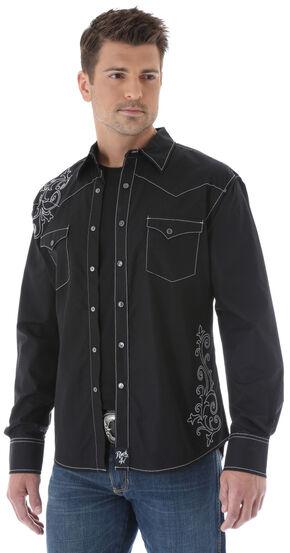Wrangler Rock 47 Embroidered Solid Black Long Sleeve Shirt, Black, hi-res