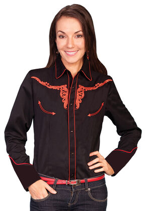Scully Longhorn Tooled Long Sleeve Top, Burnt Orange, hi-res