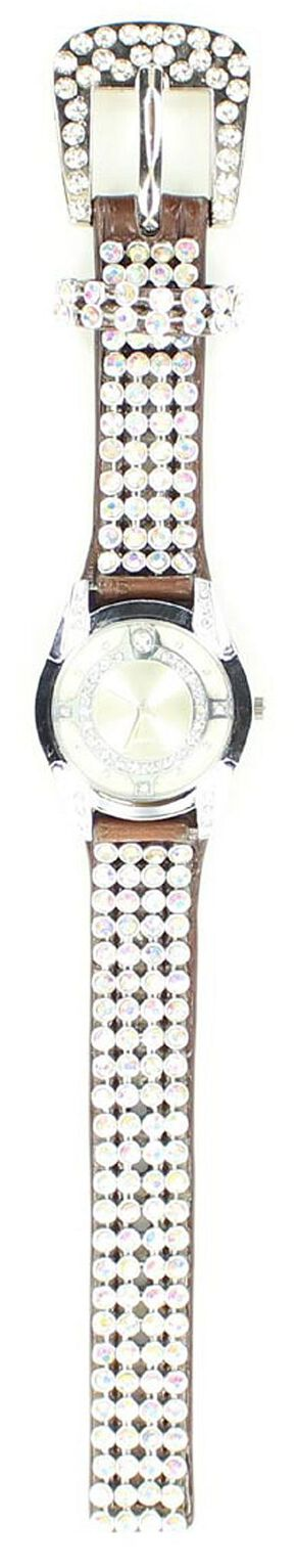 Faux Leather Rhinestone Watch, Brown, hi-res
