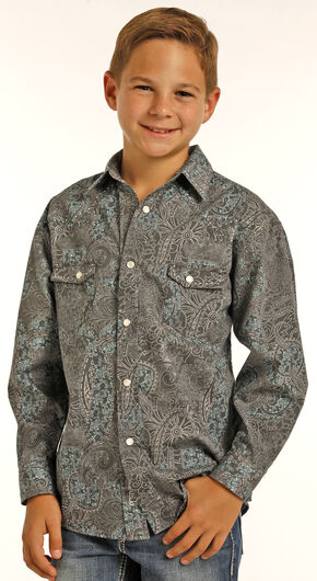 Rock & Roll Cowboy Boys' Black Poplin Paisley Print Long Sleeve Shirt, Black, hi-res