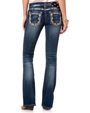Miss Me Women's Blue Floral Embroidered Jeans - Boot Cut , Blue, hi-res