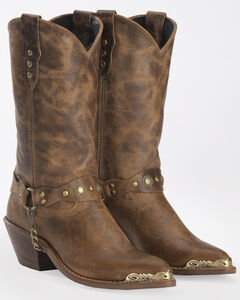 Abilene Distressed Tan Harness Cowgirl Boots - Round Toe, , hi-res