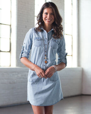 Ryan Michael Women's Denim Shirt Dress, Chambray, hi-res