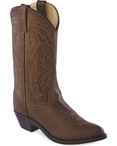 Old West Women's Polanil Western Cowboy Boots - Round Toe, Chocolate, hi-res