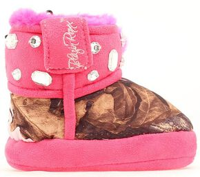 Blazin Roxx Infant Girls' Bejeweled Mossy Oak Camo Slippers, Pink, hi-res