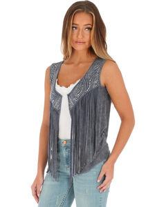 Wrangler Women's Grey Fringe and Stud Vest , , hi-res