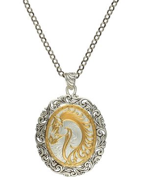 Montana Silversmiths 2-Tone Fancy Horsehead Necklace, Silver, hi-res