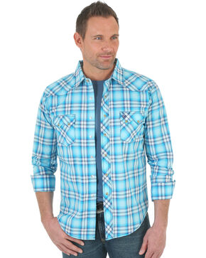 Wrangler Men's Light Blue Plaid Western Jean Shirt , Blue, hi-res