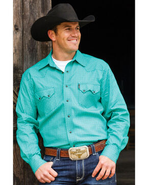 Cinch Men's Teal Navy Snaps Western Shirt, Teal, hi-res