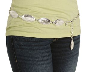 Tony Lama Concho Hip Belt, Silver, hi-res