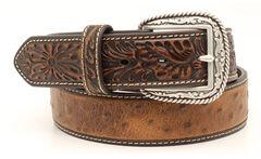 Ariat Ostrich Print Tooled Tab Belt, , hi-res