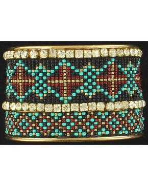 Blazin Roxx Rhinestone Beaded Tribal Cuff Bracelet, Multi, hi-res