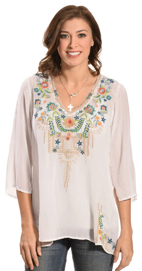 Johnny Was Women's Tropic Blouse, White, hi-res