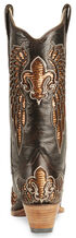 Corral Fleur-De-Lis Inlay Distressed Cowgirl Boot - Snip Toe, Brown, hi-res