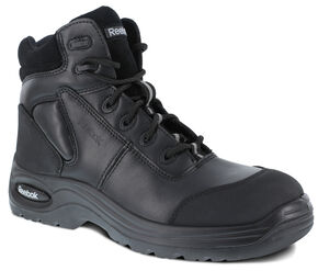 "Reebok Men's Trainex 6"" Lace-Up Work Boots - Composition Toe, Black, hi-res"