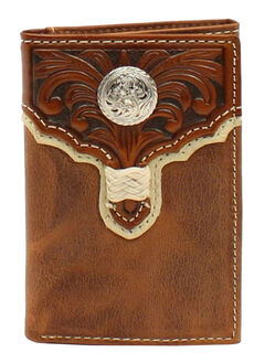Nocona Floral Embossed Round Concho Braid Tri-Fold Wallet, , hi-res