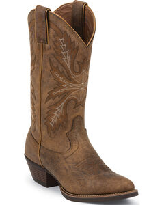 Justin Tan Puma Silver Cowgirl Boots - Round Toe , , hi-res