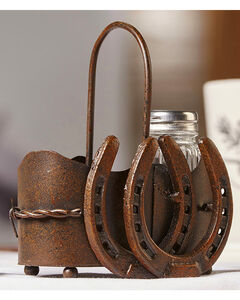Giftcraft Brown Iron & Glass Salt & Pepper Shakers W/ Holder 3 Piece Set , , hi-res