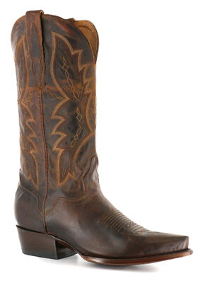 El Dorado Distressed Goat Cowboy Boots - Snip Toe, Brown, hi-res