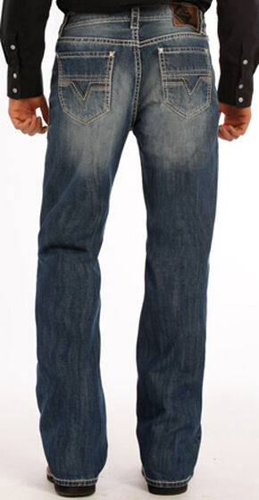 Rock and Roll Cowboy Double Barrel Abstract V Jeans - Boot Cut , Indigo, hi-res