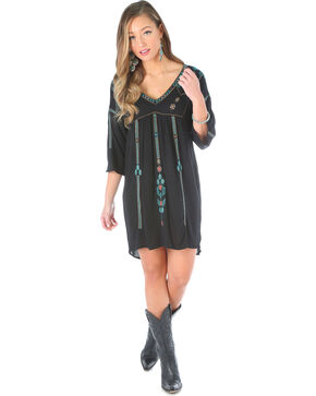 Wrangler Women's Hi Low Embroidered Dress, Black, hi-res
