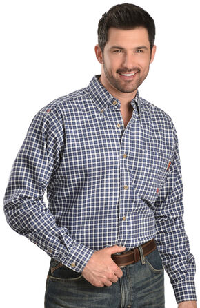 Ariat Men's Flame-Resistant Blue Windowpane Work Shirt - Big & Tall, Blue, hi-res