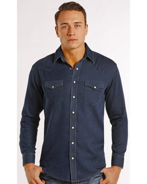 Rough Stock by Panhandle Slim Men's Navy Newbridge Vintage Western Shirt , Navy, hi-res