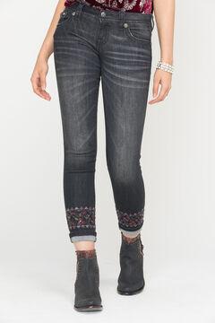 Miss Me Women's Distressed Black Skinny Cuffs Jeans, , hi-res