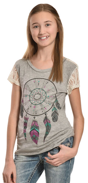 Petrol Girls' Feather Frenzy Lace Back Tee, Ivory, hi-res