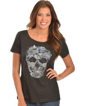 Wrangler Rock 47 Floral Skull Short Sleeve Tee, Black, hi-res
