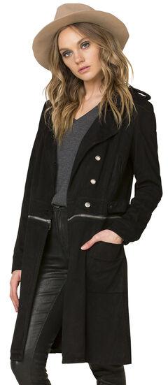 Miss Me Women's Black Work 'n Slay Trench Coat , , hi-res