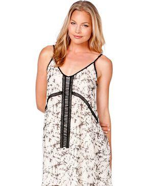 Miss Me Beaded Printed Dress, Off White, hi-res