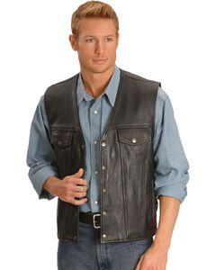 Milwaukee Motorcycle Gambler Leather Vest, , hi-res