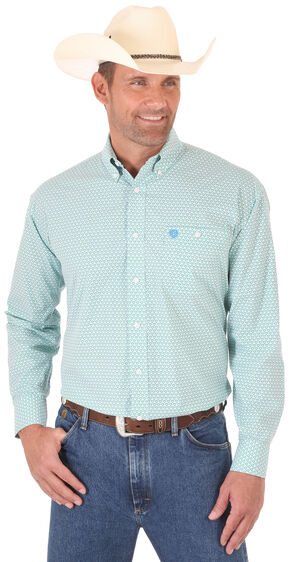 Wrangler Men's Aqua George Strait Long Sleeve Shirt - Big and Tall, Multi, hi-res