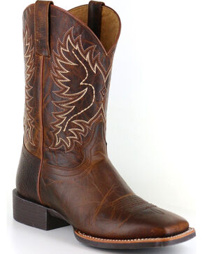 Cody James Men's Embroidered Performance Boots - Square Toe, Brown, hi-res